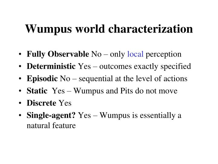 Wumpus world characterization