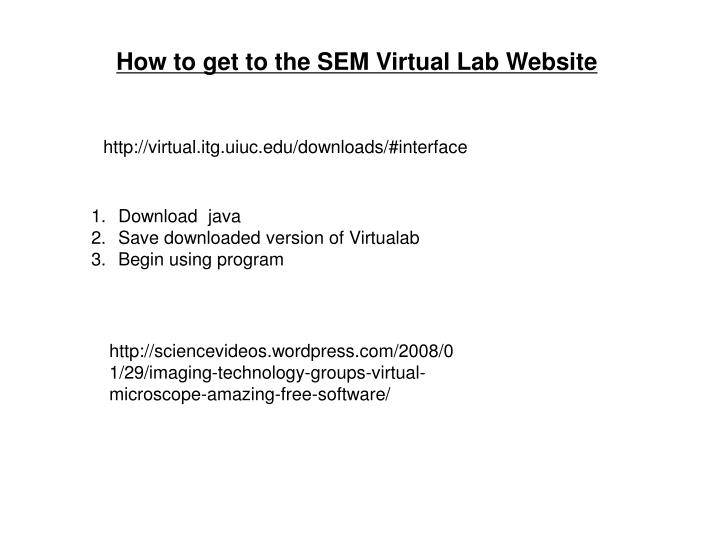 How to get to the SEM Virtual Lab Website