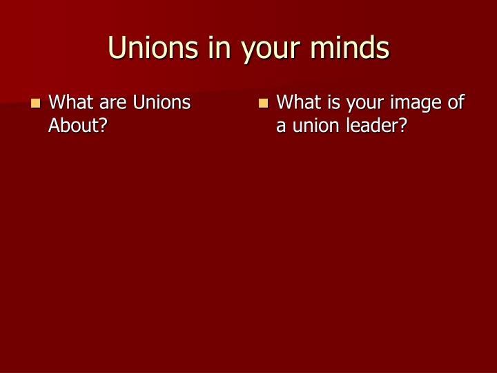 unions in your minds n.