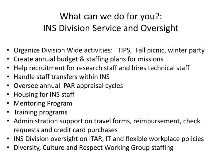 What can we do for you?: