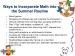 ways to incorporate math into the summer routine