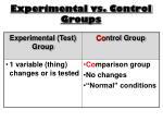 experimental vs control groups