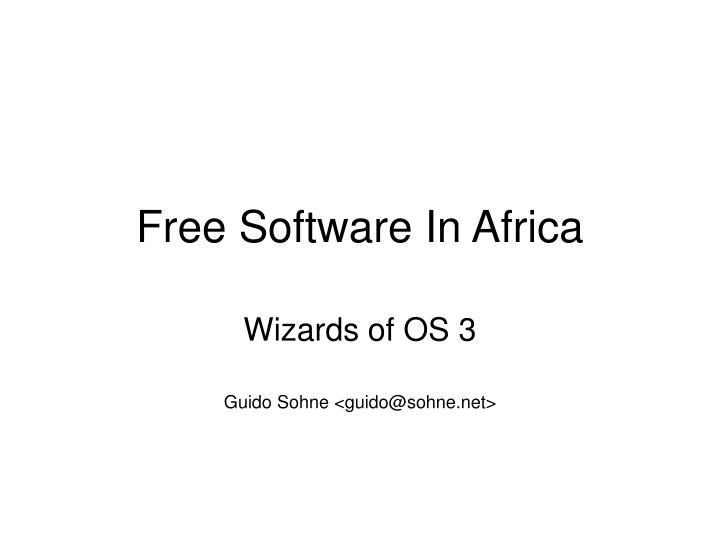 free software in africa n.