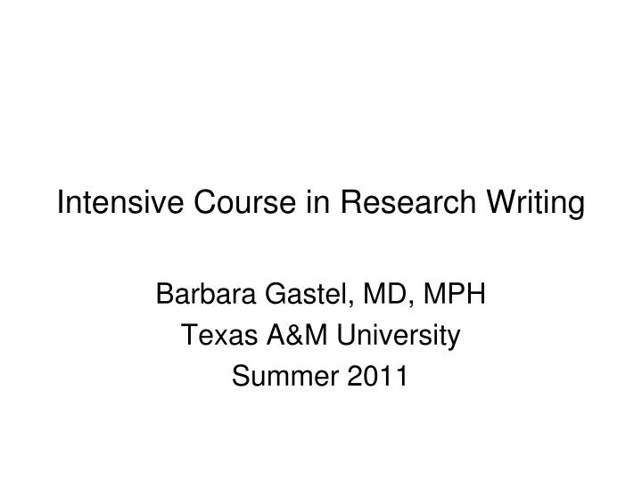 intensive course in research writing n.