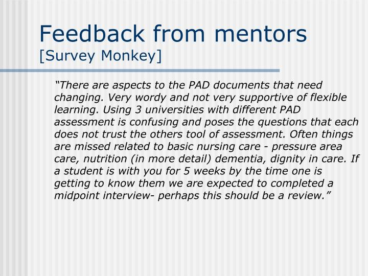 Feedback from mentors