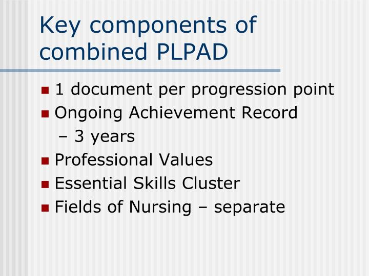 Key components of combined PLPAD