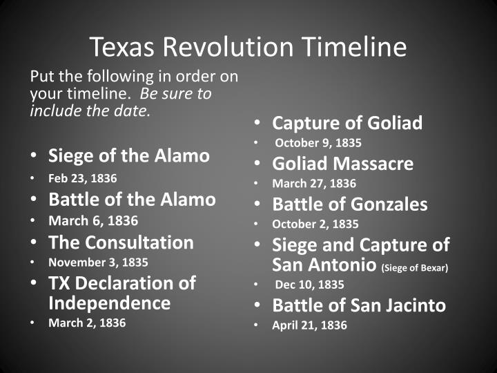 ppt texas revolution timeline powerpoint presentation id 6174402
