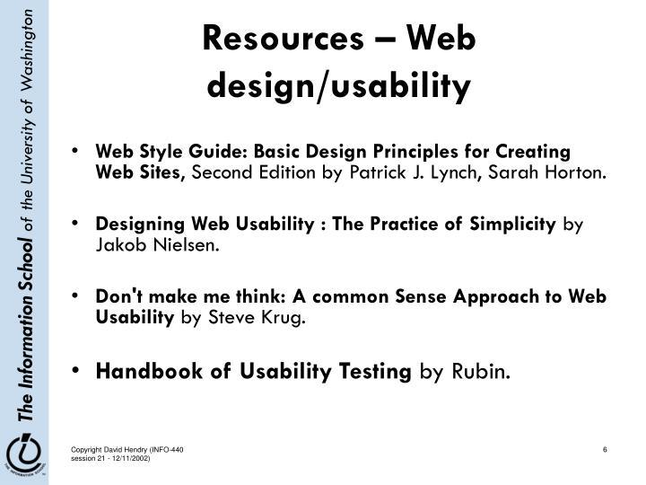 Resources – Web design/usability