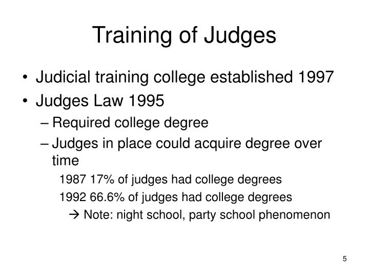 Training of Judges