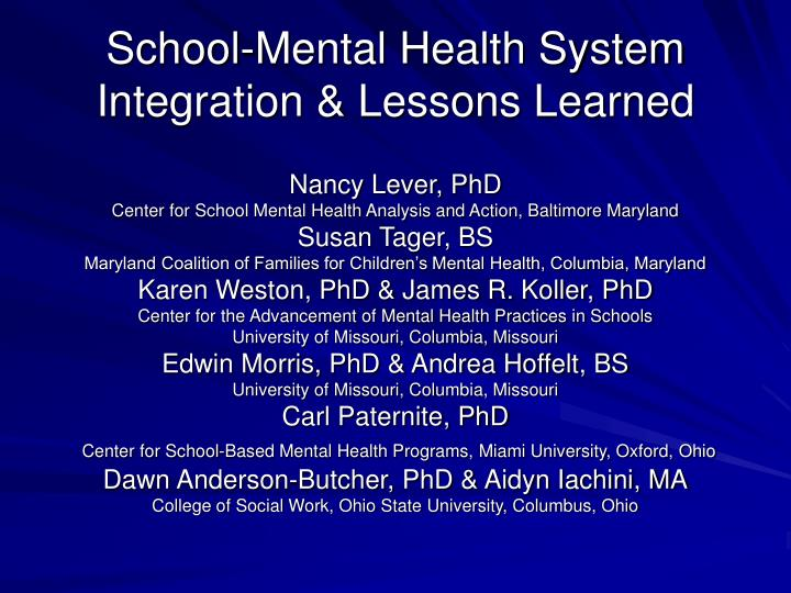 school mental health system integration lessons learned n.