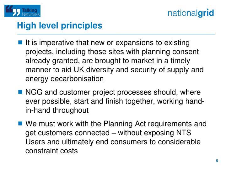 High level principles