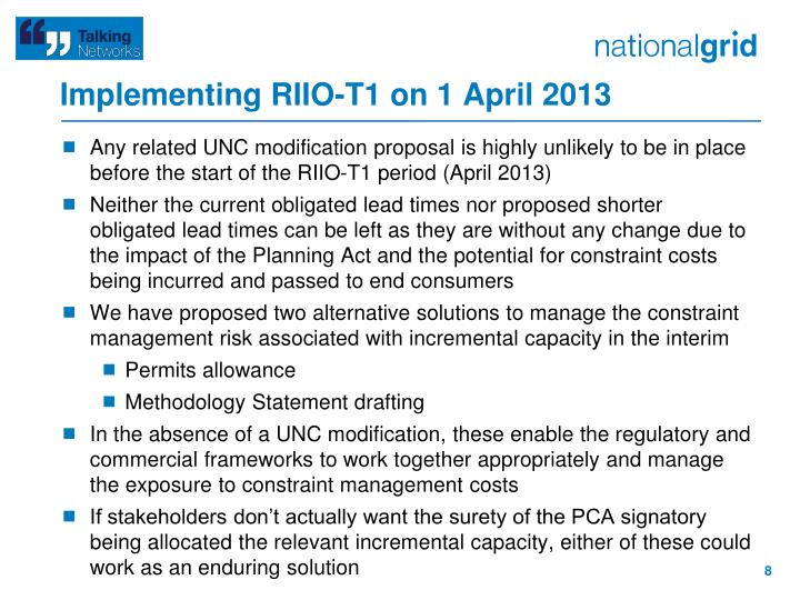 Implementing RIIO-T1 on 1 April 2013
