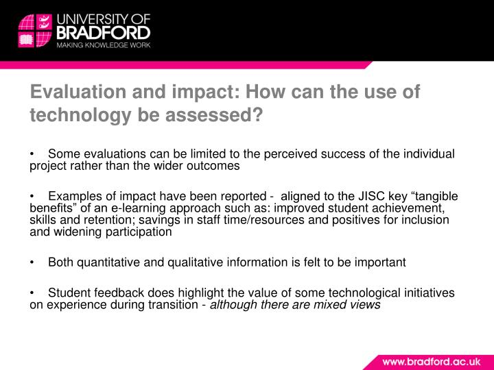 Evaluation and impact: How can the use of technology be assessed?