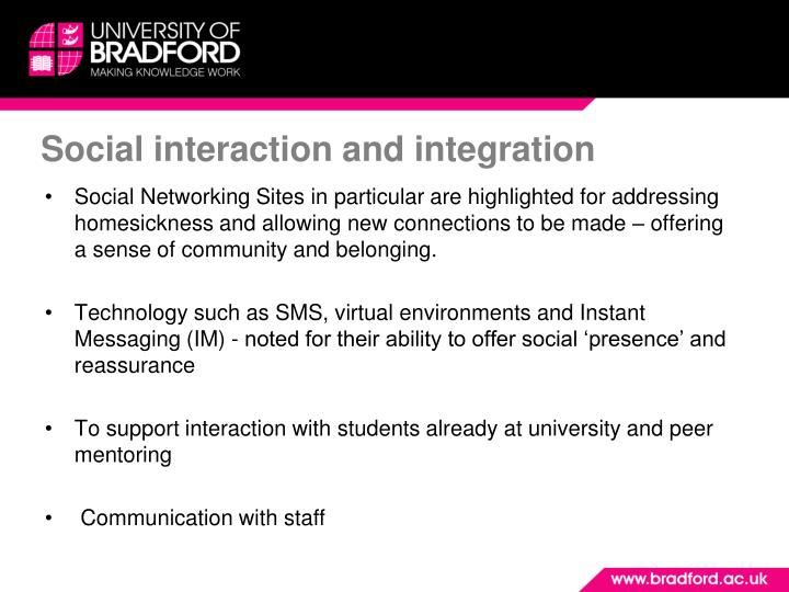 Social interaction and integration