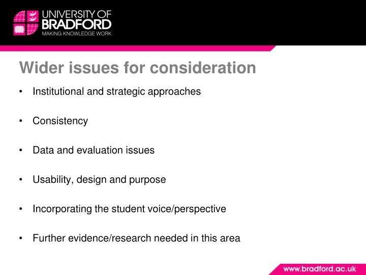 Wider issues for consideration