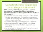 considerations for responding to an alleged hib incident