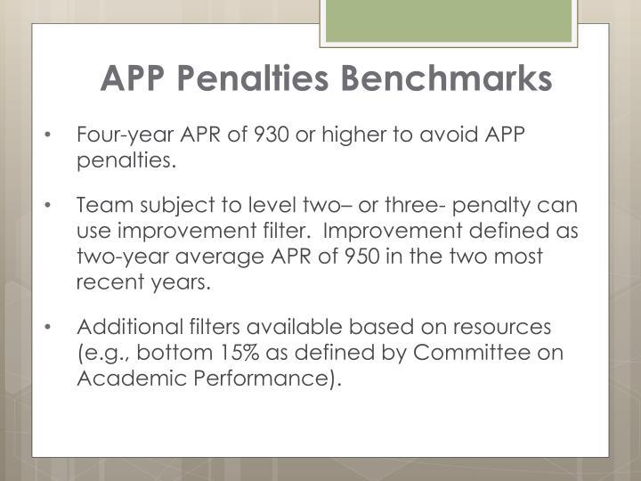 APP Penalties Benchmarks