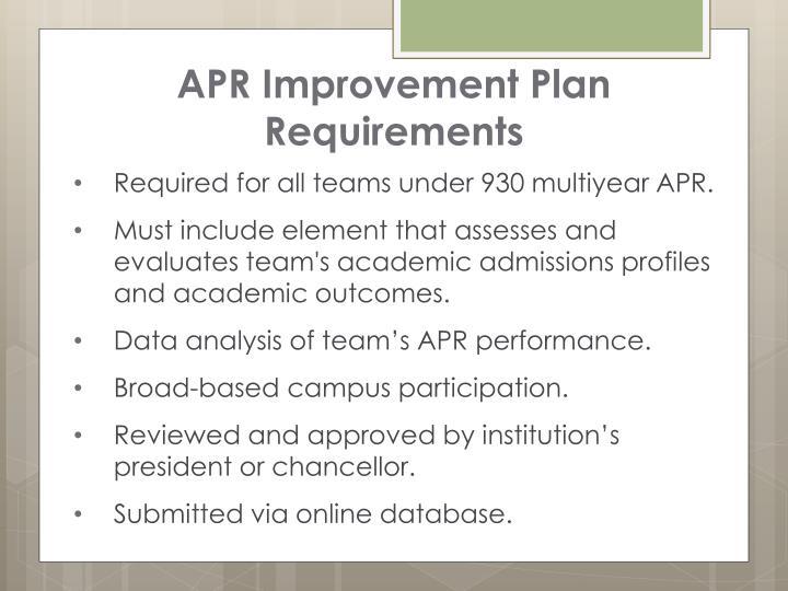 APR Improvement Plan Requirements
