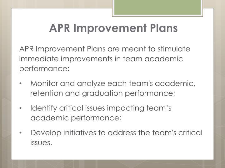 APR Improvement Plans