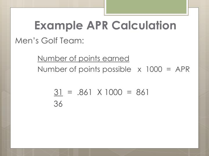 Example APR Calculation