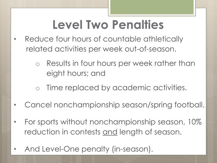 Level Two Penalties