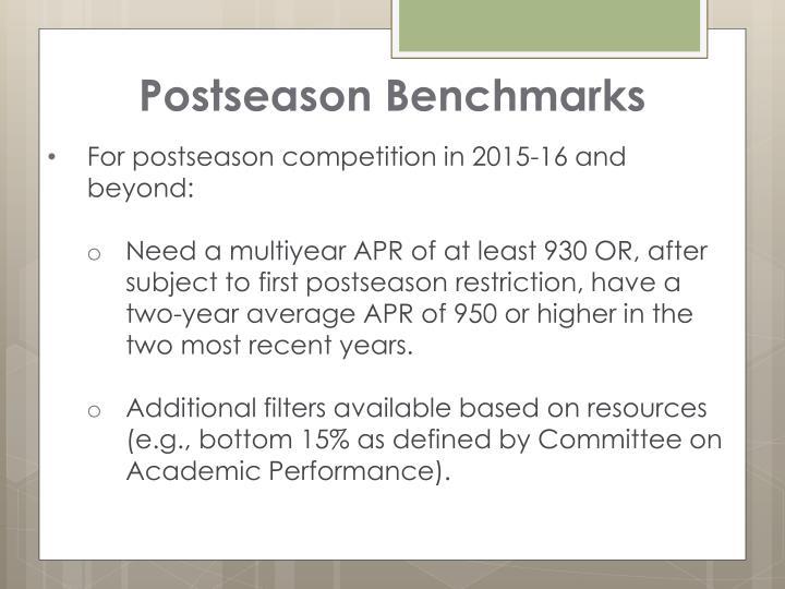 Postseason Benchmarks