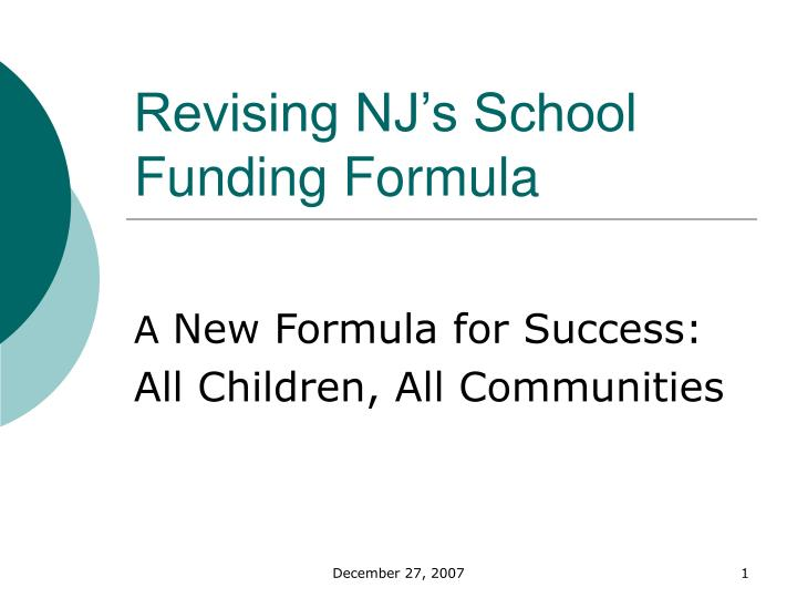 revising nj s school funding formula n.