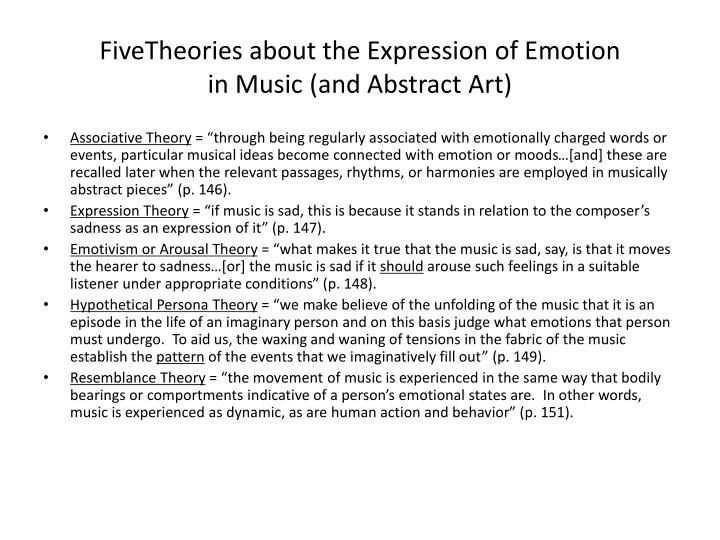 FiveTheories about the Expression of Emotion