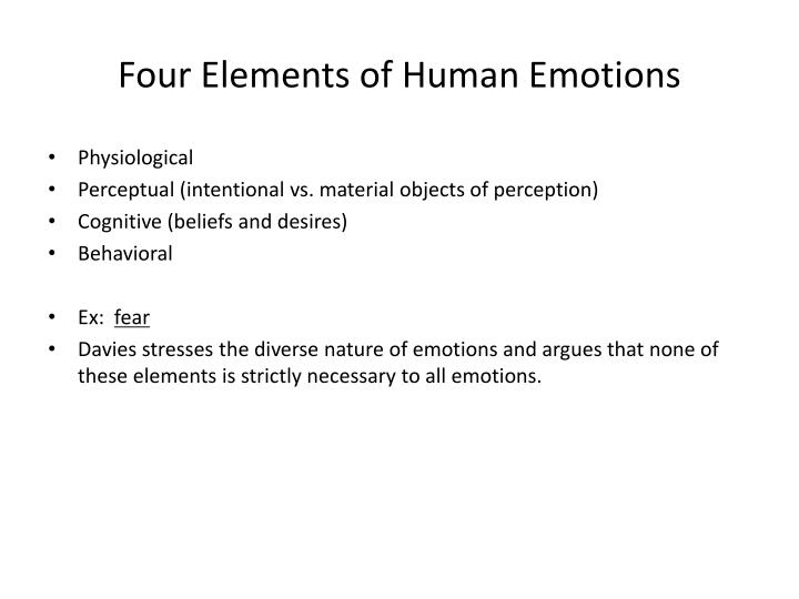 Four elements of human emotions
