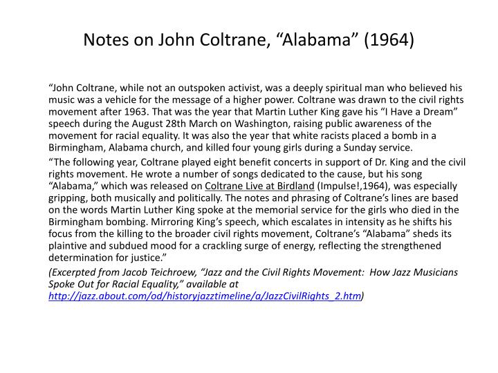 "Notes on John Coltrane, ""Alabama"" (1964)"