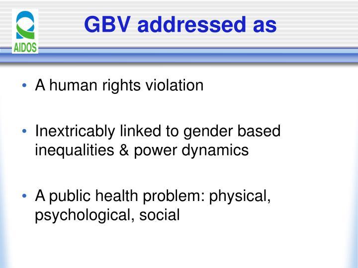 GBV addressed as
