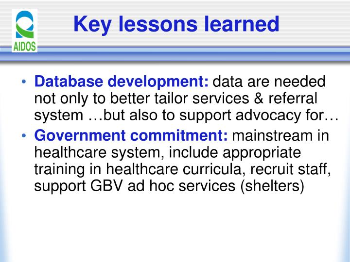 Key lessons learned
