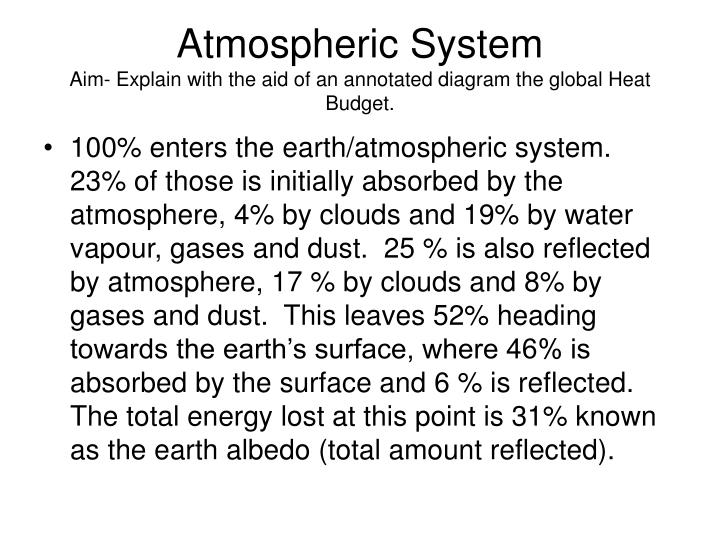 Atmospheric system aim explain with the aid of an annotated diagram the global heat budget1
