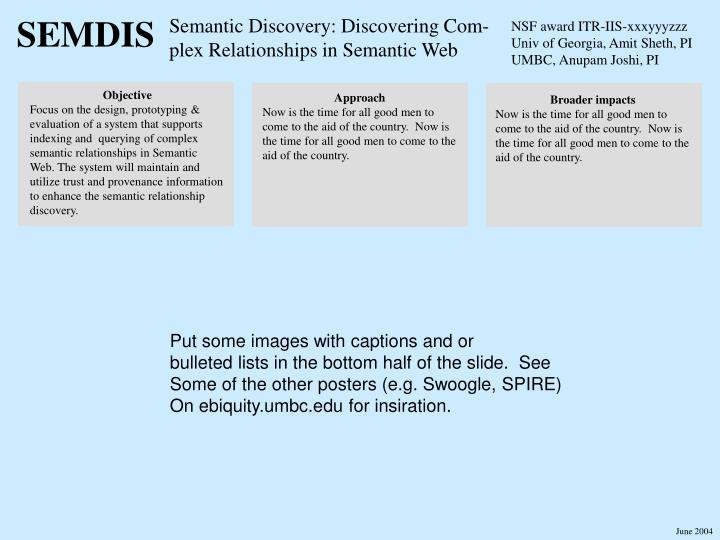 Semantic discovery discovering com plex relationships in semantic web