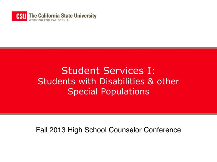 student services i students with disabilities other special populations n.