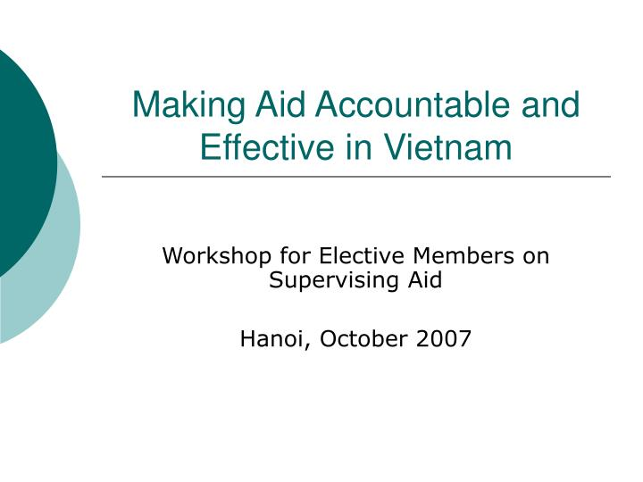 making aid accountable and effective in vietnam n.