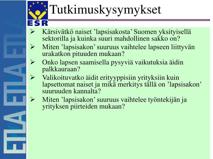 Kärsivätkö naiset 'lapsisakosta' Suomen yksityisellä sektorilla ja kuinka suuri mahdollinen sakko on?