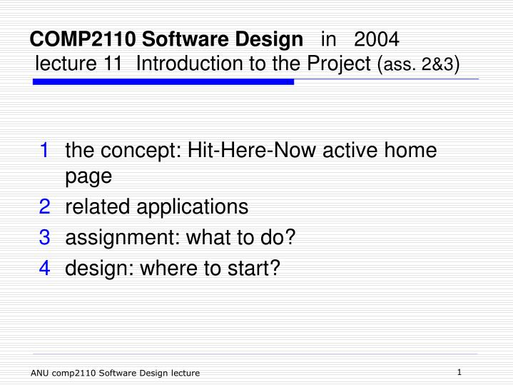 Ppt Comp2110 Software Design In 2004 Lecture 11