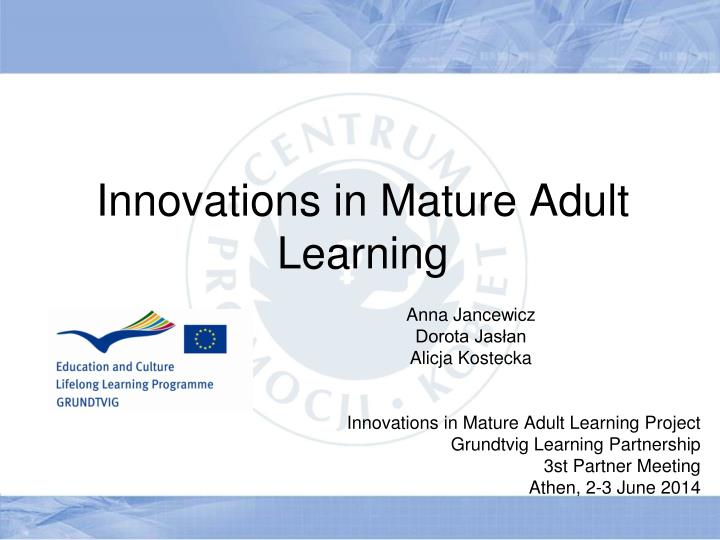 innovations in mature adult learning n.