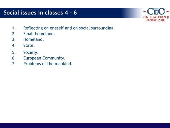 Reflecting on oneself and on social surrounding.