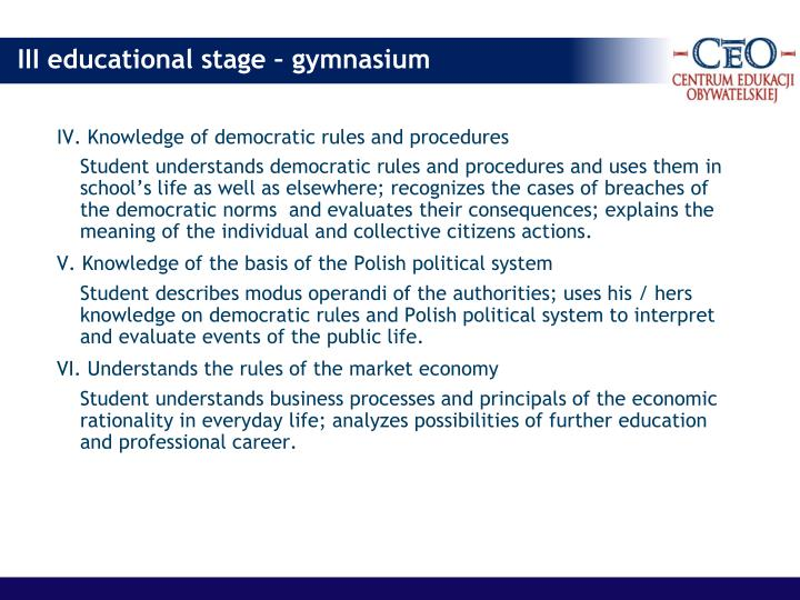 IV. Knowledge of democratic rules and procedures