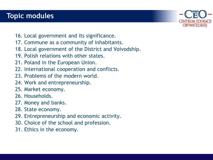 16. Local government and its significance.