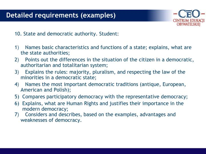 10. State and democratic authority. Student: