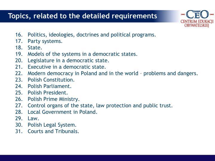 16.Politics, ideologies, doctrines and political programs.