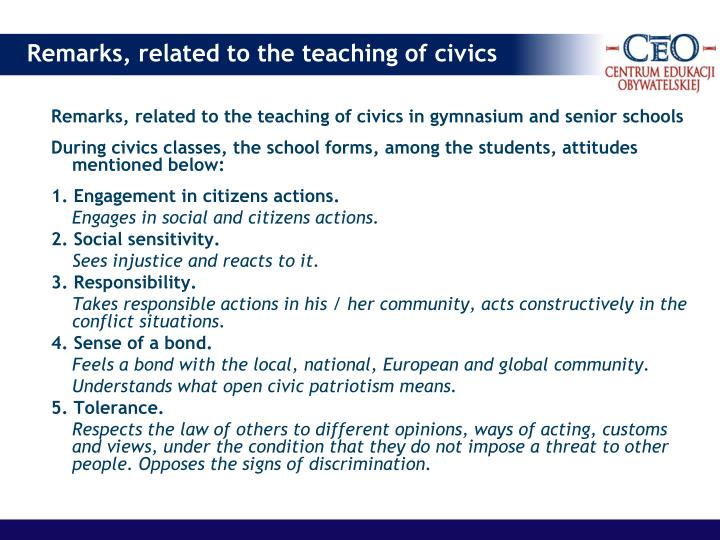 Remarks, related to the teaching of civics in gymnasium and senior schools