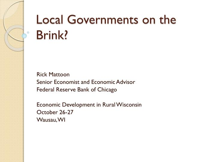local governments on the brink n.