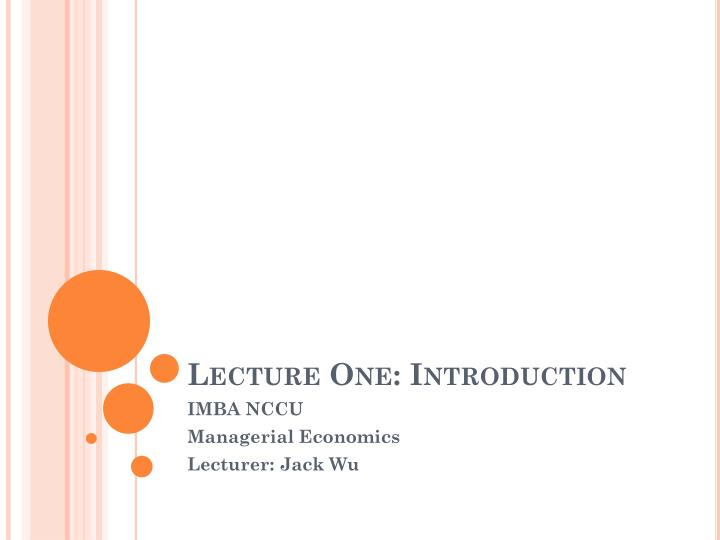lecture one introduction n.