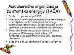 me unarodna organizacija za atomsku energiju iaea