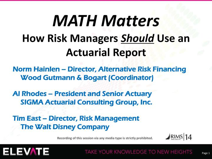 math matters how risk managers should use an actuarial report n.