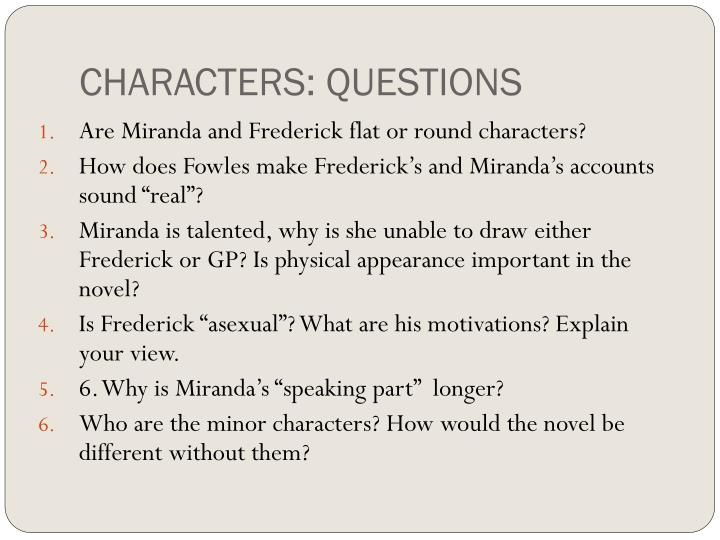 CHARACTERS: QUESTIONS